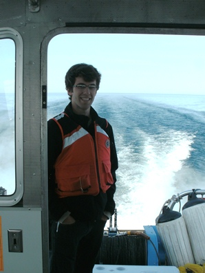 Adam McMillan on the R/V/ Storm in Lake Huron